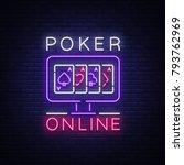 online poker is a neon sign....   Shutterstock .eps vector #793762969