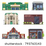 cartoon city public buildings... | Shutterstock .eps vector #793763143
