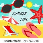 summer time in beach sea shore...   Shutterstock .eps vector #793763248