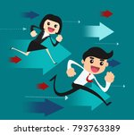 businessman and business woman... | Shutterstock .eps vector #793763389