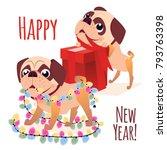merry christmass postcard.... | Shutterstock .eps vector #793763398