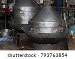 large streamer pot on the stove ... | Shutterstock . vector #793763854