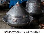 large streamer pot on the stove ... | Shutterstock . vector #793763860