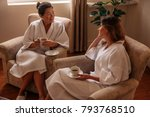 women wearing bathrobe in... | Shutterstock . vector #793768510