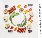 flat lay of colorful salad... | Shutterstock . vector #793769920