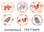 animals and birds in patterned... | Shutterstock .eps vector #793773499