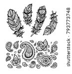 feathers and paisley pattern.... | Shutterstock .eps vector #793773748