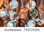 top view of group of friends... | Shutterstock . vector #793774594