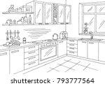 kitchen room graphic black... | Shutterstock .eps vector #793777564
