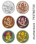 vector set of circles with... | Shutterstock .eps vector #793780720