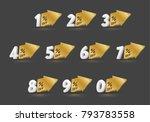 number with big gold arrow set... | Shutterstock .eps vector #793783558