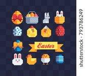 pixel art icons set. happy...   Shutterstock .eps vector #793786249