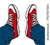 stylish sneakers and jeans.... | Shutterstock .eps vector #793787464