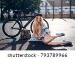 beautiful fashion urban hipster ... | Shutterstock . vector #793789966