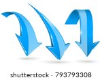 blue down arrows. vector 3d... | Shutterstock .eps vector #793793308