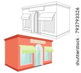 store front. red 3d building... | Shutterstock .eps vector #793793326
