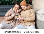 young couple in love have fun... | Shutterstock . vector #793793488