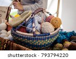 colorful yarn basket on the... | Shutterstock . vector #793794220