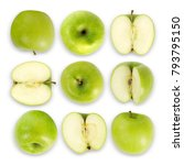 green apple collection isolated ... | Shutterstock . vector #793795150