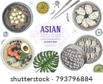 asian food top view. asian... | Shutterstock .eps vector #793796884