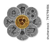 set of gold and silver crypto...   Shutterstock .eps vector #793798486