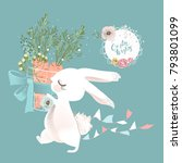 Stock vector cute white bunny rabbit hare with basket with carrots and flowers and hanging flags frame with 793801099