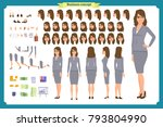 set of businesswoman character... | Shutterstock .eps vector #793804990