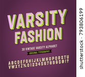 'varsity fashion' vintage retro ... | Shutterstock .eps vector #793806199