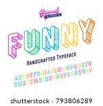 'funny' vintage 3d sans serif... | Shutterstock .eps vector #793806289