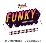 'funky' vintage 3d sans serif... | Shutterstock .eps vector #793806334