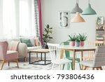 white  grey and green chair at... | Shutterstock . vector #793806436