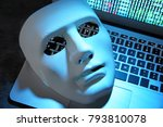 white mask on laptop keyboard ...   Shutterstock . vector #793810078