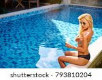 uv protection and suntan. young ... | Shutterstock . vector #793810204