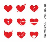 be my valentine icon set vector.... | Shutterstock .eps vector #793810210