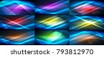 set of blue vector neon smooth... | Shutterstock .eps vector #793812970