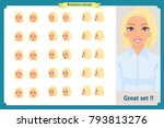 set of woman's emotions design. ... | Shutterstock .eps vector #793813276