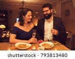 romantic dinner at home | Shutterstock . vector #793813480