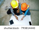 architects in the construction... | Shutterstock . vector #793814440