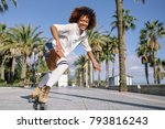 smiling black woman on roller... | Shutterstock . vector #793816243