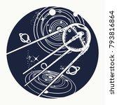 sputnik tattoo. space ship... | Shutterstock .eps vector #793816864