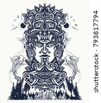 ancient aztec totem and...   Shutterstock .eps vector #793817794