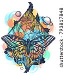 butterfly  rose  and universe... | Shutterstock .eps vector #793817848