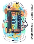 old audio cassette and music...   Shutterstock .eps vector #793817860