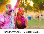 guys with a girl celebrate holi ... | Shutterstock . vector #793819633