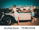 two stylish ladies near classic ... | Shutterstock . vector #793823548