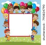 back to school blank template... | Shutterstock .eps vector #793824790