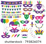 mardi gras vector decoration... | Shutterstock .eps vector #793826074