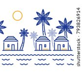 island paradise  resort with... | Shutterstock .eps vector #793826914