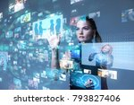 young woman using futuristic... | Shutterstock . vector #793827406