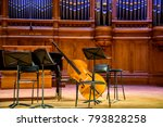 Small photo of Moscow, Russia-December, 30, 2017: Scene from the big hall of the Tchaikovsky Conservatory with musical instruments close-up.